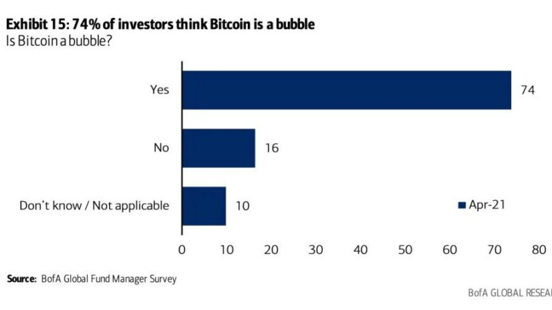 Nearly 75% of professional investors see Bitcoin as bubble: survey